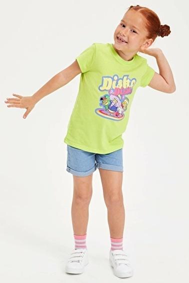 DeFacto Kral Şakir Lisanslı Kısa Kollu Kız Çocuk T-shirt Yeşil